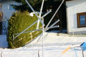 Windspiel 6 Speere Speere sind aus Aluminium mit Kugellager drehbar, Edelstahlstab, Höhe ca 3 m