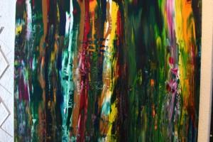 mit Acrylfarben auf grundierter Hartfasserplatte Größe ca. 78 x 118 cm