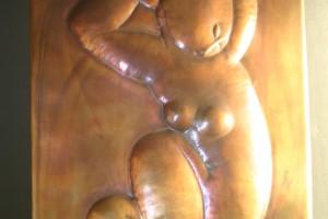 aus Kupferblech getrieben, Größe ca. 20 x 30 cm nach einer Zeichnung von Modigliani