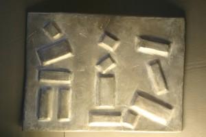 aus Bleiblech getrieben, Größe ca. 30 x 20 cm