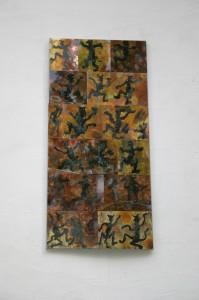 aus gebeitztem Kupferblech auf Trägerplatte geklebt, Höhe ca 180 cm