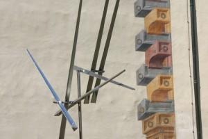 Speere aus Aluminium, drehbar gelagert, Stange aus Edelstahl, Höhe ca 350 cm