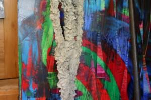 auf Edelstahlgerüst mit Fliesenkleber modelliert Höhe ca 60 cm
